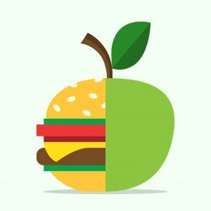 Half hamburger combined with apple. Food, healthy eating, lifestyle, fitness, health, fruit and diet concept. EPS 8 vector illustration, no transparency
